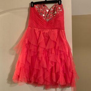 strapless pink/ peach formal dress
